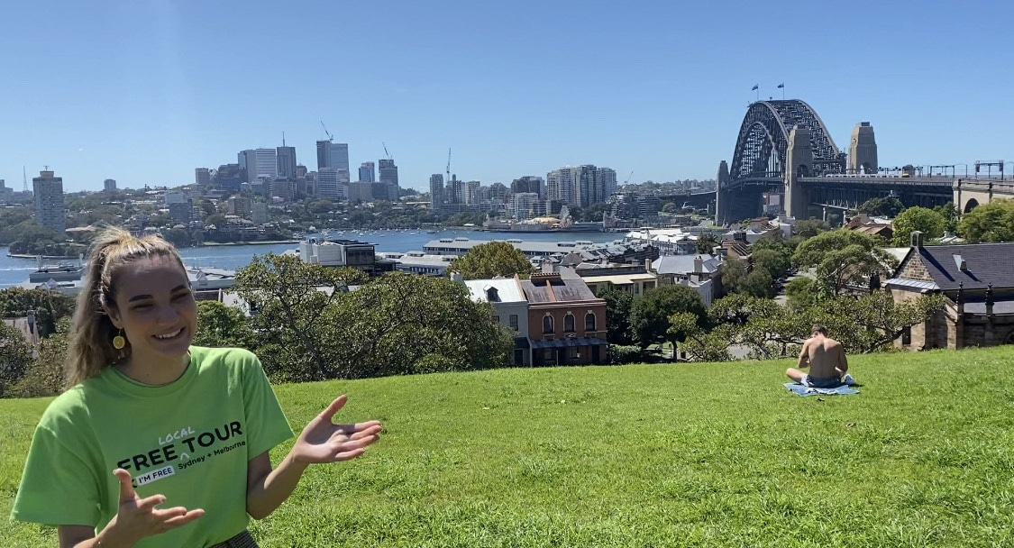 I_m Free Sydney tour guide on Observatory hill with the Sydney Harbour bridge in the background
