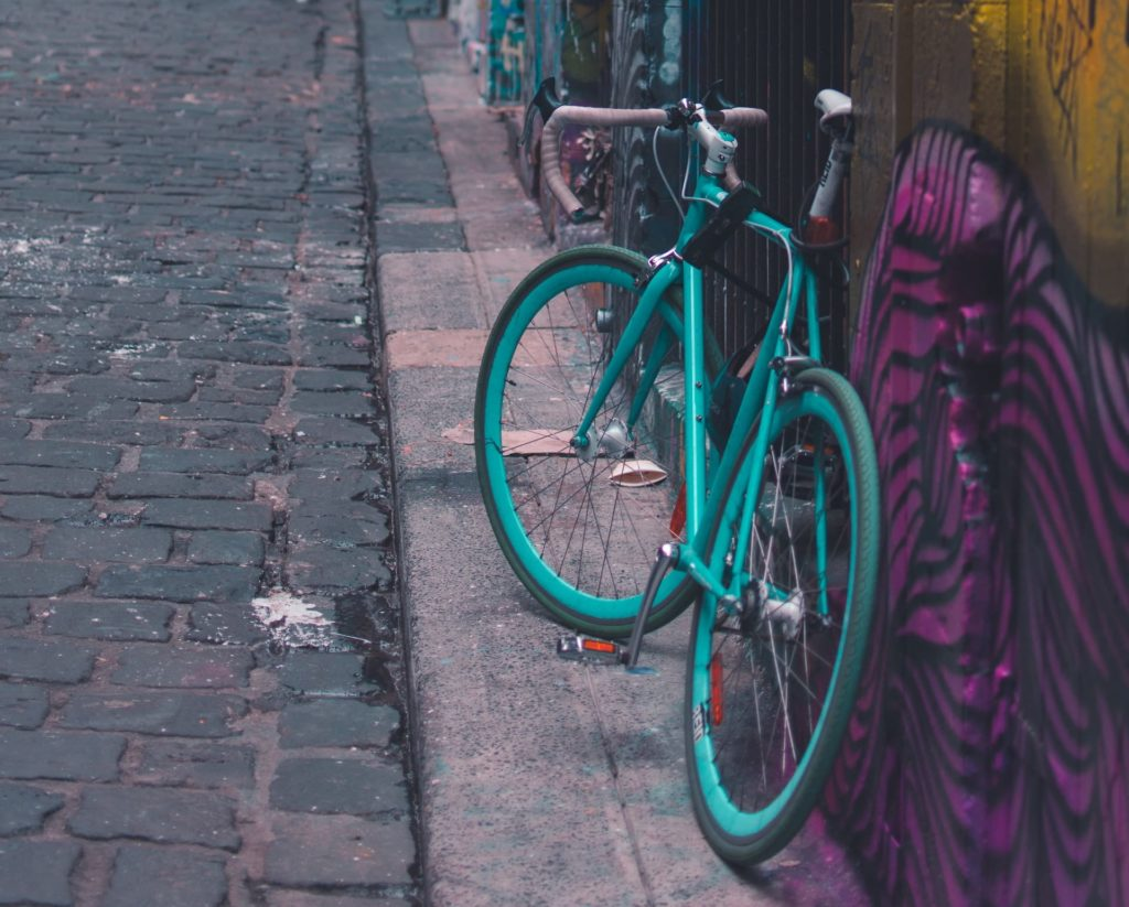 Green bicycle in Hosier Lane Melbourne